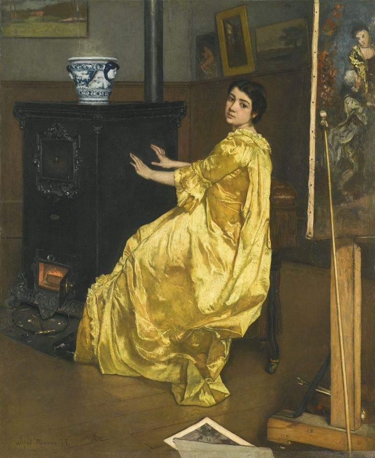 Alfred Stevens 1823 - 1906 BELGIAN DANS L'ATELIER: LE REPOS DU MODÈLE signed and dated alfred Stevens 57 lower left oil on panel 61 by 49.5cm
