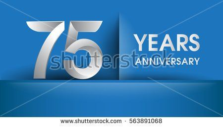 75 years Anniversary celebration logo, flat design isolated on blue background, vector elements for banner, invitation card and birthday party.