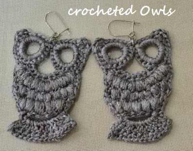 Crocheted Owl Earrings