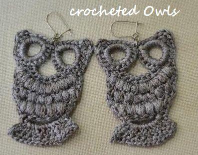 Crocheted Owl Earrings