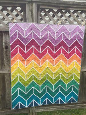 rainbow herringbone quilt