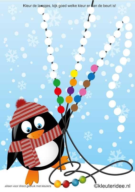 Werkblad visueel: Kleur de lampjesreeks van de pinguïn, kleuteridee.nl , color the series lights , free printable.
