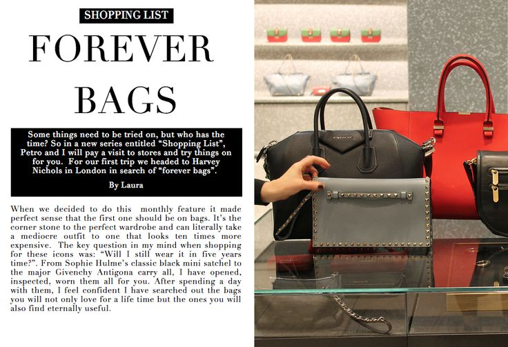 The 4 bags you'll love forever | Wardrobe ICONS http://wardrobeicons.com/the-icons-update/shopping-list-forever-bags-harvey-nichols/