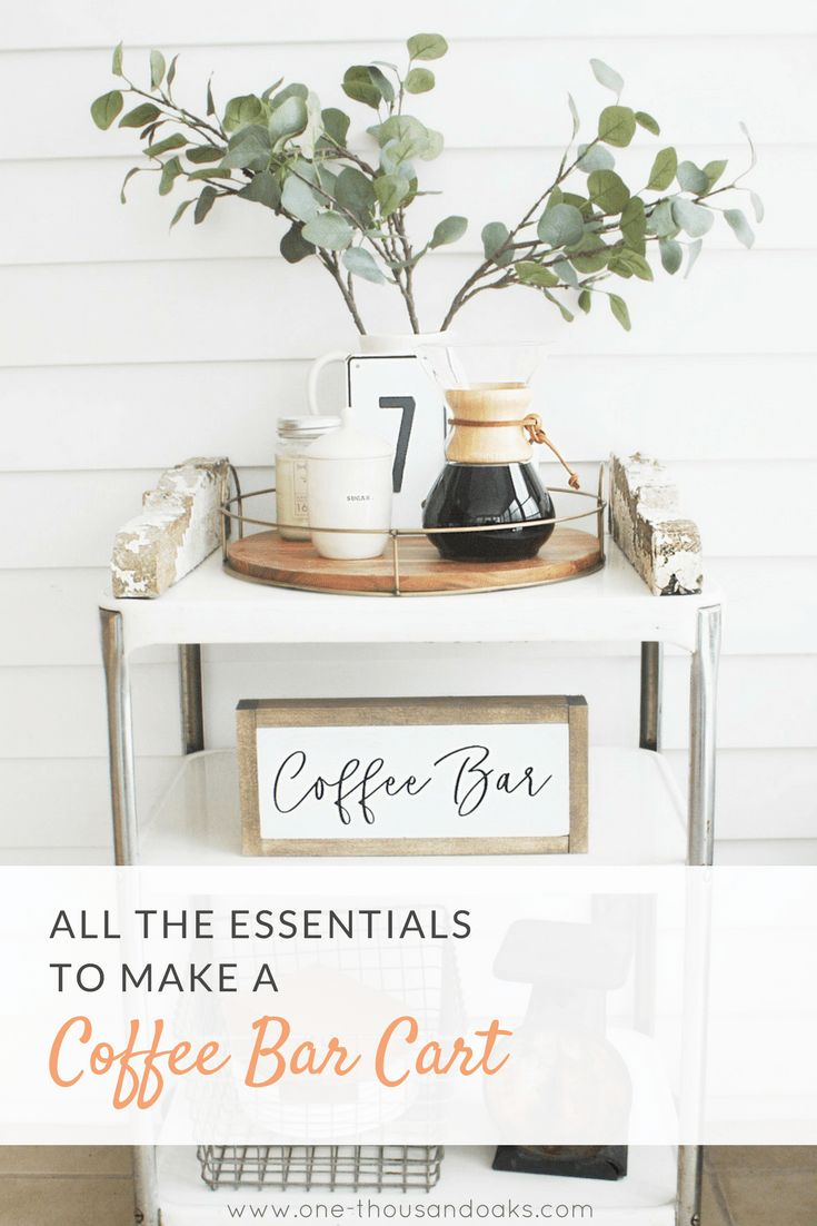 What cute idea! A coffee bar cart to free up space on the counters! This coffee bar cart has all the coffee essentials and is adorably decorated in a farmhouse style. All the Essentials to make a Coffee Bar Cart - Find insp for your coffee bar and get ideas on what to add to your own coffee bar or coffee bar cart at www.one-thousandoaks.com