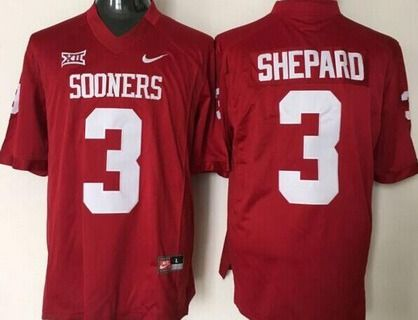 Men's Oklahoma Sooners #3 Sterling Shepard Red College Football Jersey