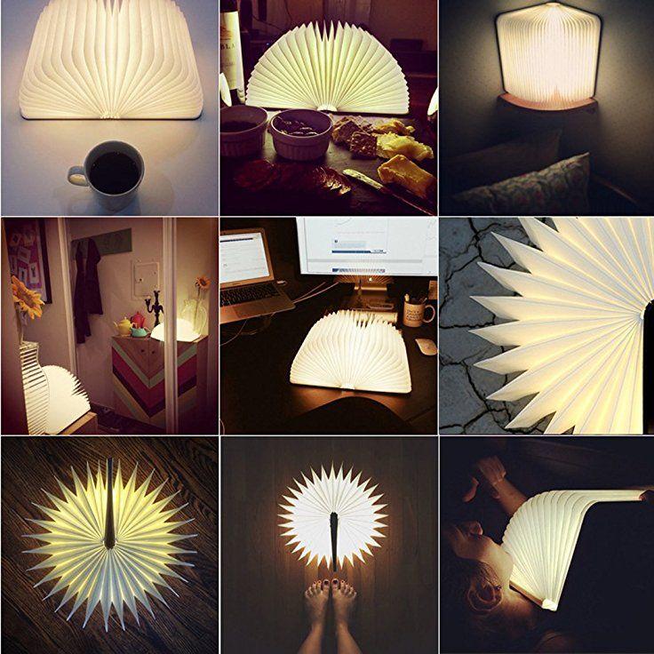 LED Lumio Buchlampe Faltbar Tischlampe Aus Holz Mit USB Kabel Warmweiß 2500  MAh Lithium Batterien