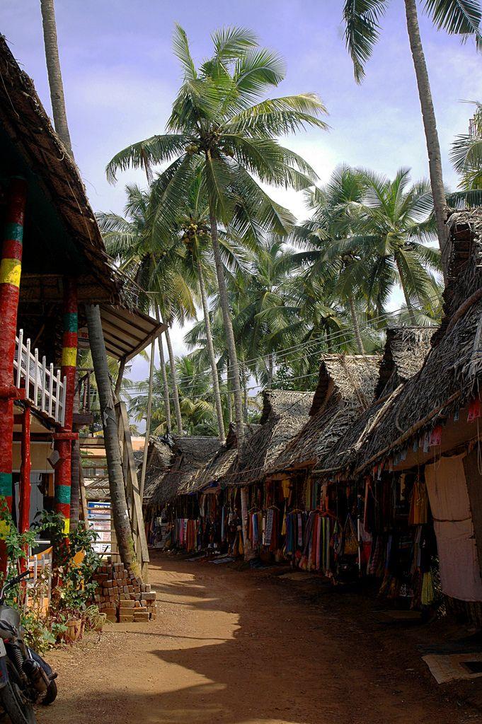 Les rues de Varkala Beach au Kerala en Inde
