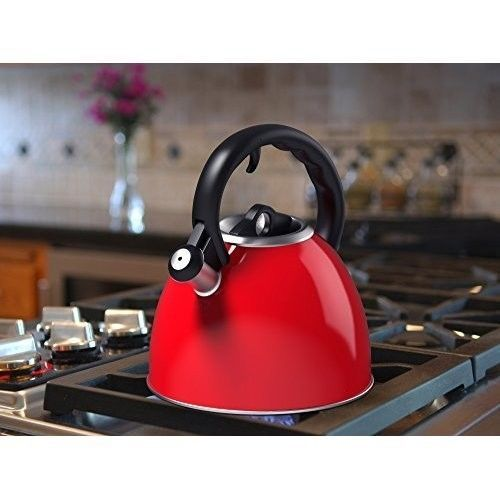 Modern Tea Kettle Stainless Steel Whistling Kitchen Retro Vintage Teapot Red 2Qt #ModernTeaKettle