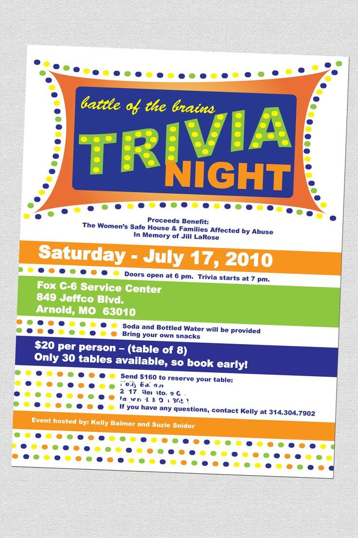 16 best fundraising trivia night images on pinterest fundraising ideas trivia quiz and how to organize