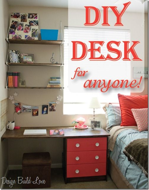 Perfect for studying! Do it yourself desk. #student #room #ideas