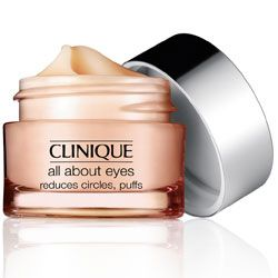 "#clinique All About Eyes - ""Lightweight eye cream diminishes the appearance of eye puffs, darkness and fine lines. Non-creep, cream/gel formula actually helps hold eye makeup in place. For use morning and night, both under eyes and on lids. Ophthalmologist Tested."""