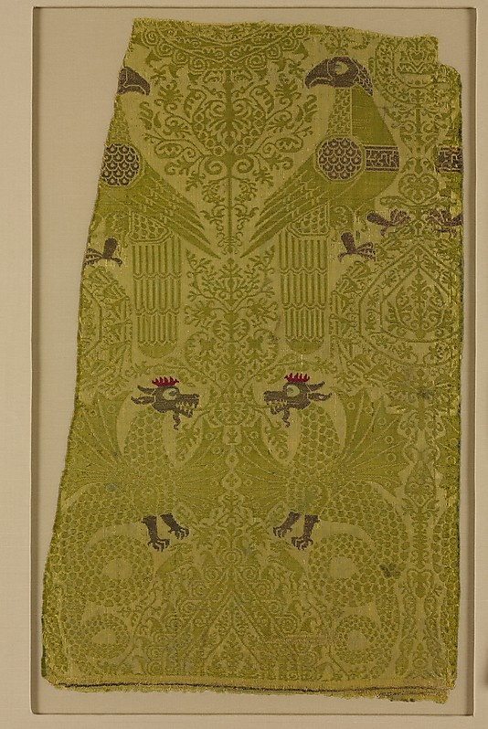 13th cent. Italian silk and metallic thread.  Textile Fragment with brocade with Bird, Dragon, and Palmette Motifs