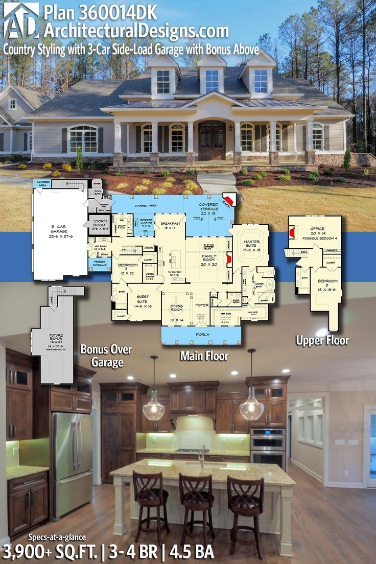 Architectural Designs Country House Plan 360014DK | 3 U2013 4 Beds | 4.5 Baths  | 3,900
