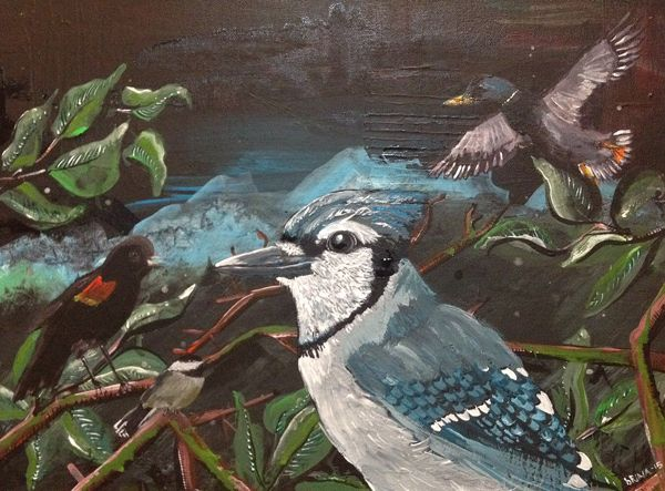 brina schenk acrylic painting - family portrait of birds
