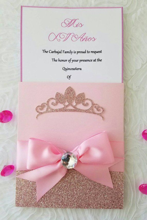 Invitación Rosa Princesa Invitaciones Para Fiesta De