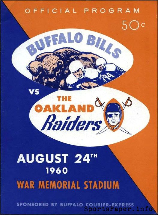 AFL Game Program: Buffalo Bills vs. Oakland Raiders (August 24, 1960)
