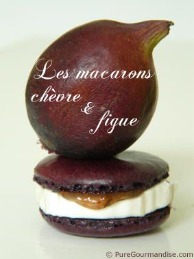 """Les macarons chèvre & figue"" -- Goat cheese & fig macarons! -- The click-through, in French, under the heading ""Gourmandises"" has 99 macaron recipes, plus tips, templates, and more."