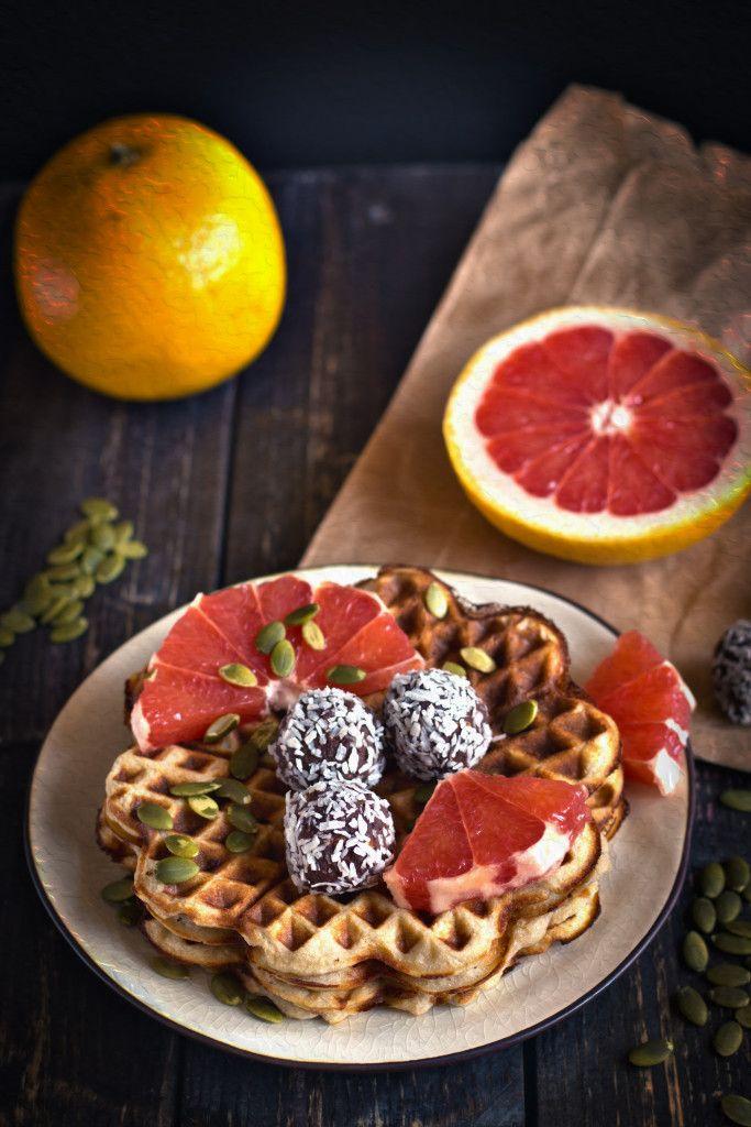 Vegan Waffle Recipe served with Grapefruit
