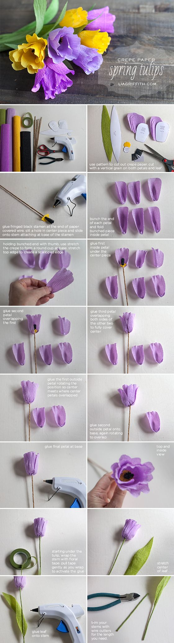 DIY Crepe Paper Tulips: tutorial by Lia Griffith