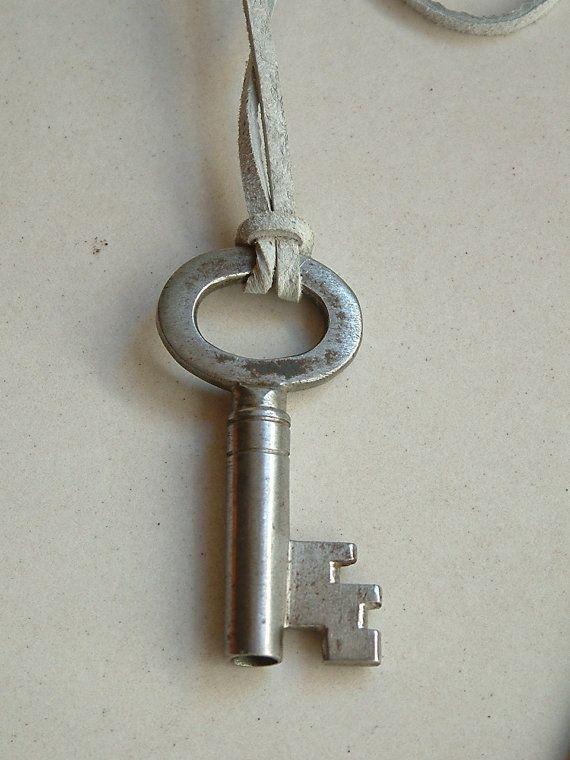 key necklace/vintage key necklace/puzzle key by emymade on Etsy