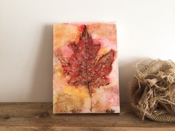 Textured Maple Leaf Original Artwork 5 x 7 by TheSplatteredWall