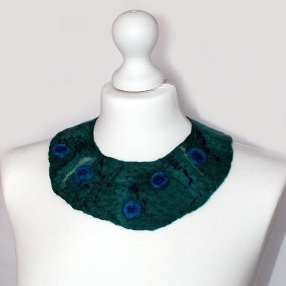 Felted Collar Necklace Green Navy Blue eco wool by EsartFelt, $30.00