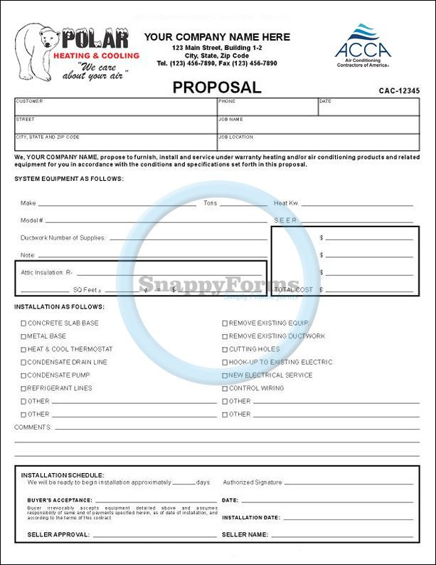 An A C Proposal Form A Fillable Form With Sections To Record
