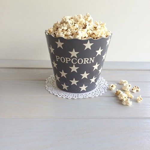 "Bol Cerámica fondo gris marengo estrellas blancas ""popcorn"""