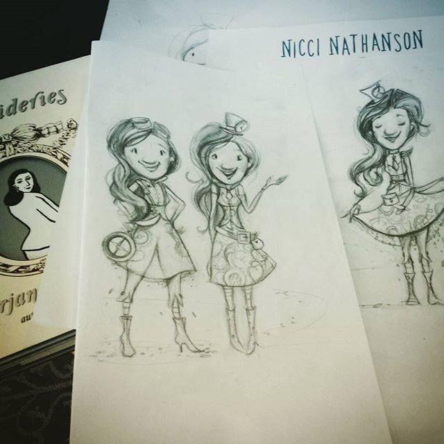 Steampunk glitter girl sketches by Nicci Nathanson www.niccinathanson.com