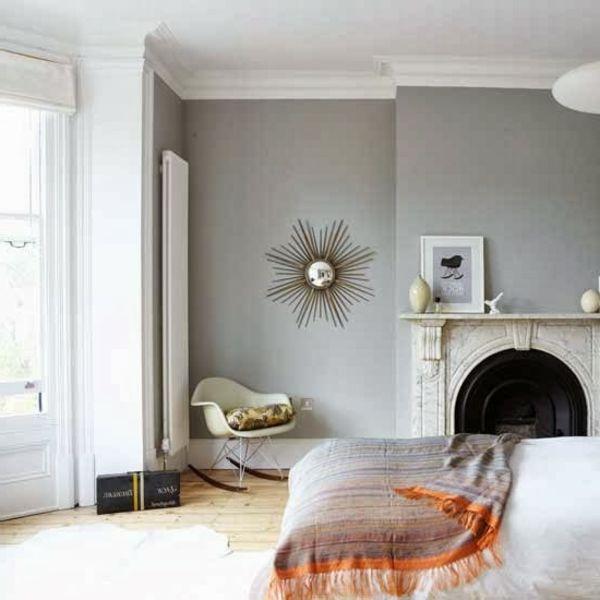 Wandfarbe Hellgrau Kamin Im Wohnzimmer
