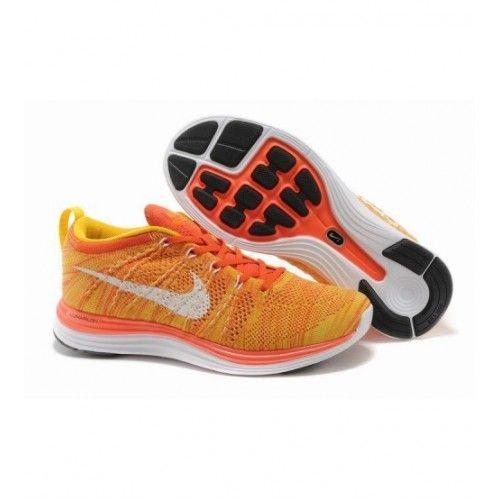 Nike Homens - Barato Nike Flyknit Lunar 1 Homens Tenis De Corrida Laranja Branco 1122