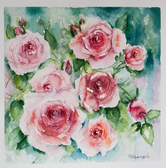 Valentine S Day Art Aquarelle Roses Roses Painting Flowers