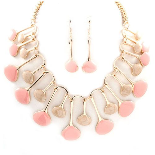 Embryo Shape Enamel Necklace in Pink