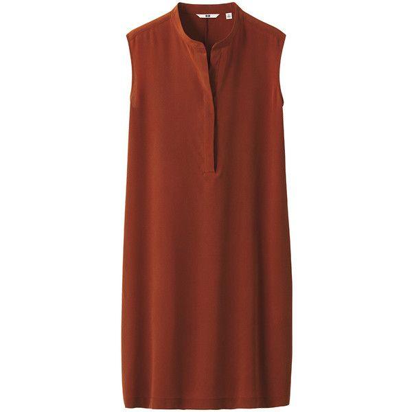 UNIQLO Women Silk Sleeveless Dress ($30) ❤ liked on Polyvore featuring dresses, tops, vestidos, robes, sheath dress, uniqlo, silk dress, sleeveless dress and brown sheath dress