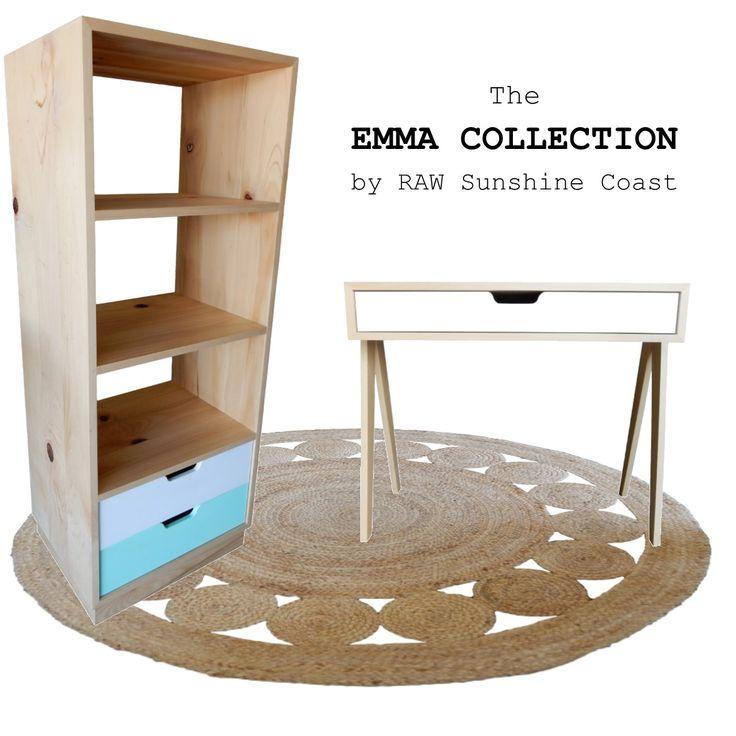 Emma Collection  - Bookshelf and Desk Handcrafted by RAW Sunshine Coast from reclaimed hoop pine  www.rawsunshinecoast.com.au