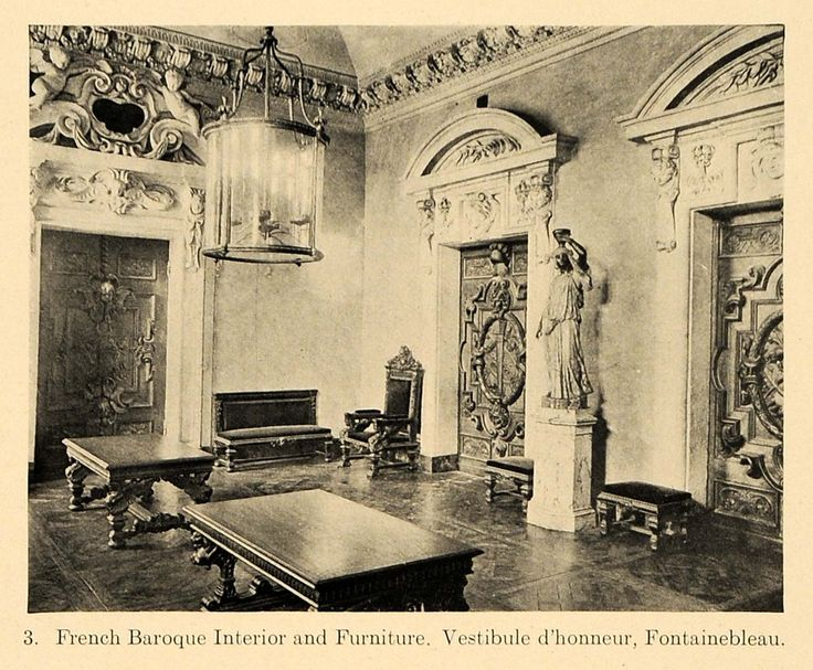 This Is An Original 1919 Halftone Print Of The French Baroque Interior And Furniture