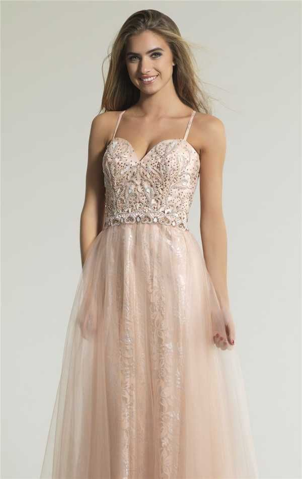 Dave and Johnny 1327 Beaded Blush Long Formal Dresses for 2017