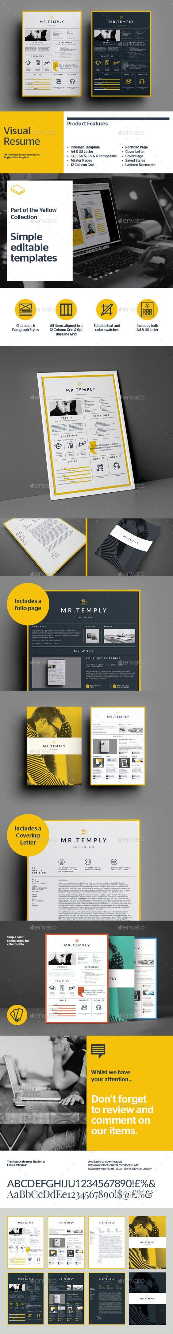 The Visual Resume template is an Indesign brochure template for individuals working in creative fields that require adding images to their written CV. This resume will really knock the socks off a potential employer.: