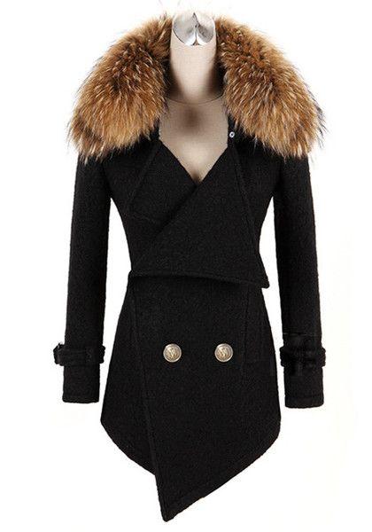 Detachable Faux Fur Collar Coat - Black