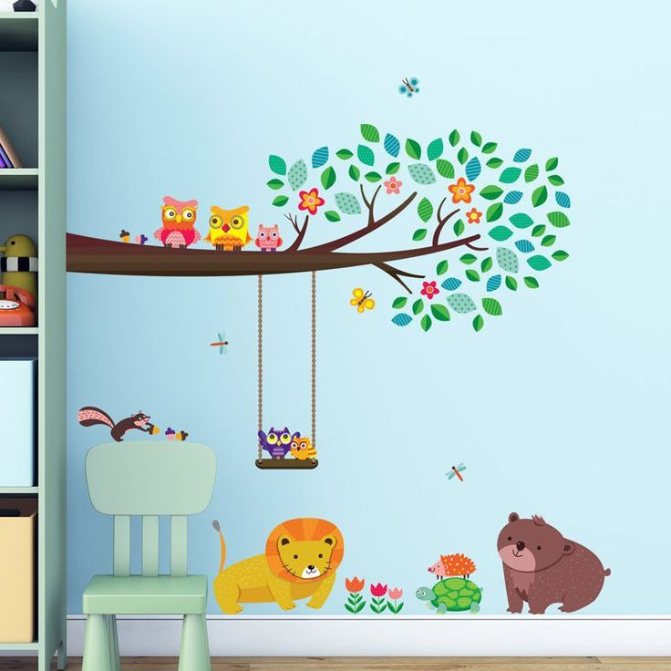 Decowall Large Branch & Owls Wall Stickers Removable Vinyl Nursery Decals 1410 #DecowallDW1410 #FairyTaleFunnyEducationalHomeInterior