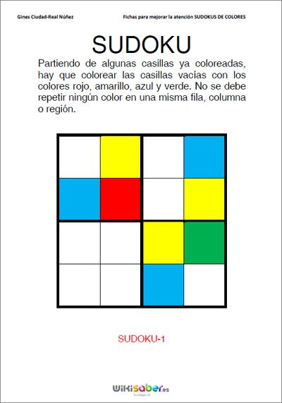 Con los sudokus de colores se puenden trabajar diferentes aspectos: el razonamiento lógico, la percepción visual y la atención.