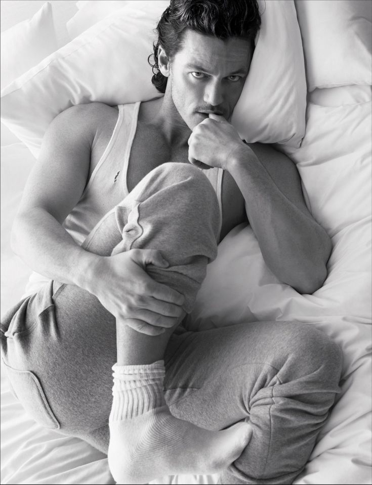 Pillow Tweets - Luke Evans photographed by Mert Alas and Marcus Piggott, styled by Edward Enninful; W Magazine March 2014.