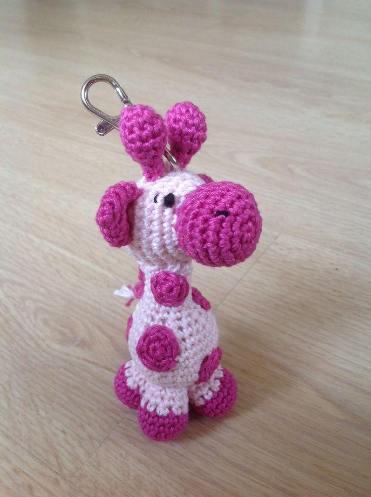 Sleutelhanger met een roze giraffe