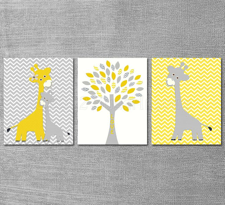 Yellow and grey Nursery Art Print Set 8x10 Kids by SugarInspire, $39.95