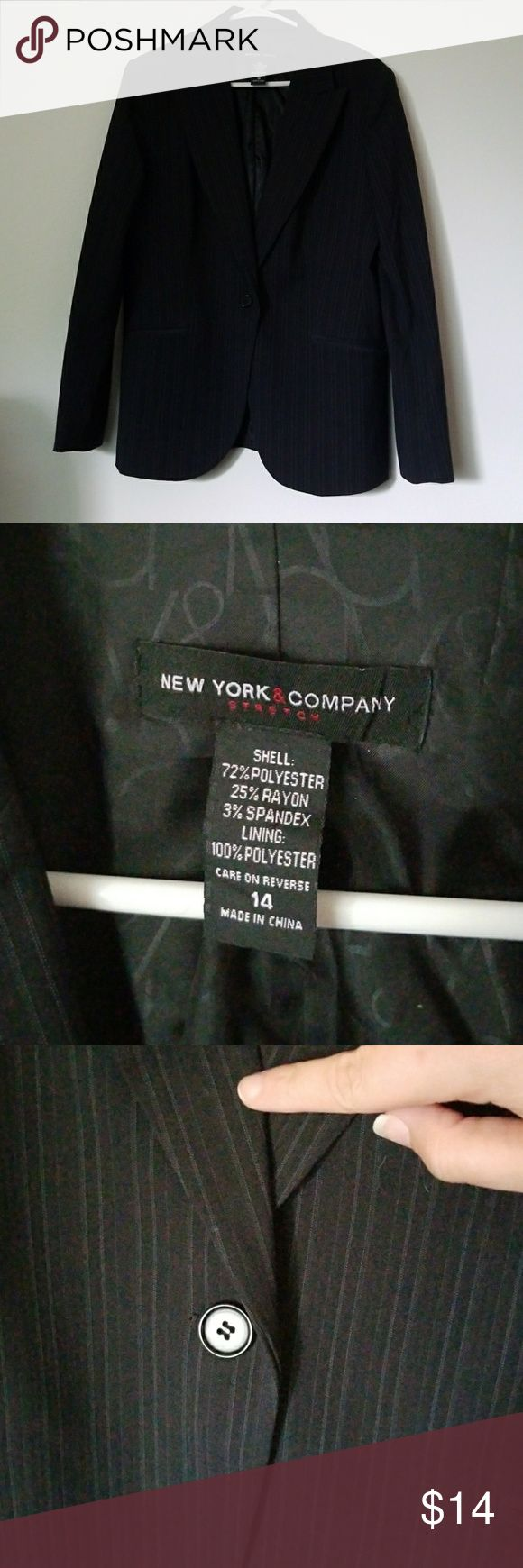 Slick Pinstriped Black Women's Blazer Gorgeous single button close blazer. Very professional. In fantastic condition. Worn a couple times. Very gently and lovingly cared for. Does have shoulder pads. New York & Company Jackets & Coats Blazers