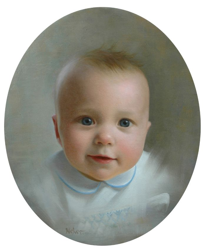 "Painting by Brian Neher, Portrait of Davidson, 11"" x 9"" oval, Oil on Linen www.BrianNeher.com"