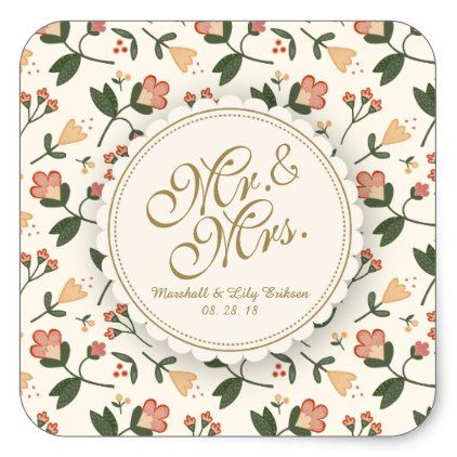 Mr. & Mrs. Elegant Floral Wedding Sticker Seal - wedding stickers unique design cool sticker gift idea marriage party