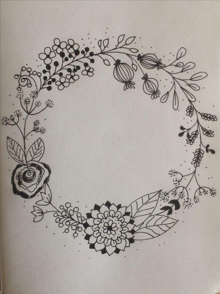 Kézzel rajzolt koszorú / floral wreath