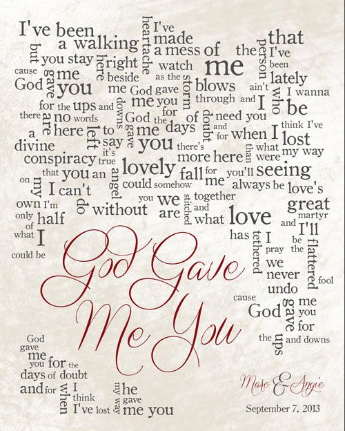 God Gave Me You 1st Anniversary Wedding Song Lyrics Gift For Husband Wife Blake Shelton Made To Order