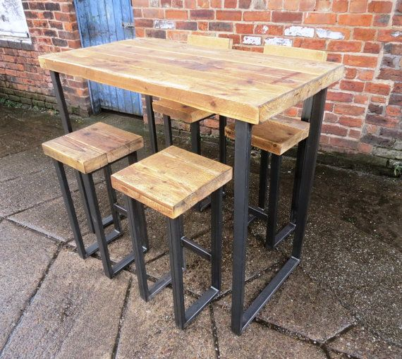 Reclaimed Industrial 4 Seater Chic Tall Poseur Table.Wood & Metal Desk/ Dining Table Bar cafe Resturant Tables Steel Metal Hand Made Bespoke